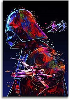 Faicai Art Star Wars Movie Poster Paintings Darth Vader The Dark Lord Canvas Prints Colorful Abstract Wall Art Black Art Modern Cool Printings Pictures for Home Office Decor Wooden Framed 16x24inch
