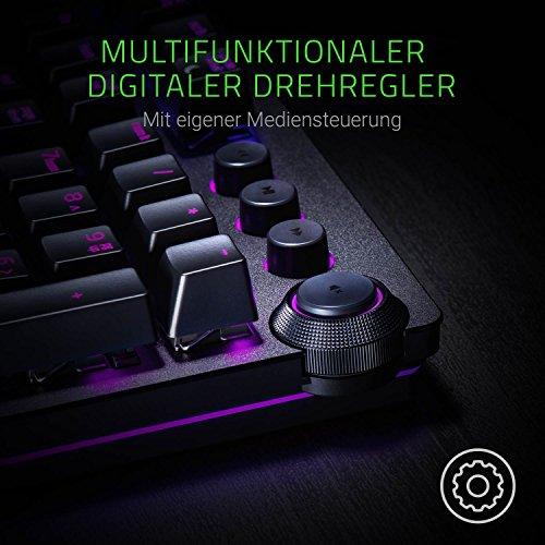 Razer Huntsman Elite (Purple Switch) - Gaming Tastatur mit opto-mechanischen Schaltern (Drehregler, beleuchteter Handballenablage, RGB Chroma) QWERTZ | DE-Layout, Schwarz
