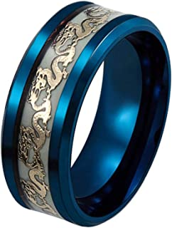 Men's 8mm Luminous Effect Rings Stainless Steel Dragon Pattern Band Ring Women Glow in The Dark