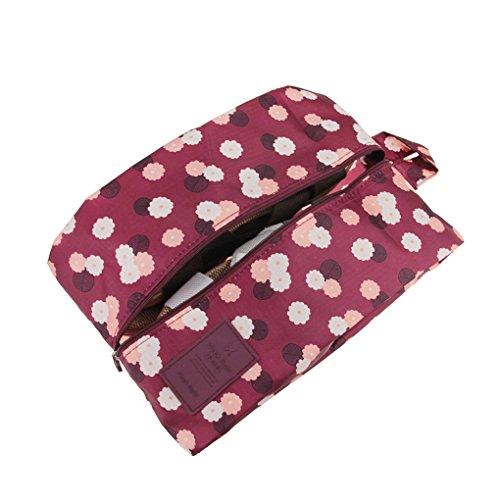 Haute Qualité Sac de Rangement Portable Trousse de Toilette Sac de sous-Vêtement/Chaussures Oxford Imperméable Organisateur Voyage avec Fermeture Zippé - Rouge de vin