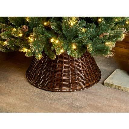 CFB Stunning Christmas Large Wicker Tree Skirt 65cm - BrowN