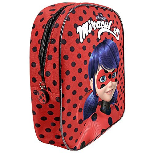 Miraculous Ladybug - Zainetto asilo bambina - Zaino a pois rosso e nero bimba - Le storie di Lady bug e Chat Noir - 30x24x10 cm - Perletti