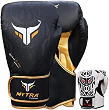 Mytra Fusion Tribal Boxing Gloves Real Leather Boxing Gloves 10oz 12oz 14oz 16oz Boxing Gloves for Training Punching Sparring Punching Bag Boxing Bag Gloves Punch Bag (10-oz, Black Gold)