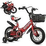 12 A 18 Pulgadas Bicicleta Plegable NiñO Y NiñA con Ruedas De Entrenamiento Y Frenos Duales, Los Manillares/Asientos Se Pueden Ajustar, para NiñOs Bicicleta De 2 A 12 AñOs
