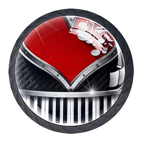 HEOH Tirador de manijas de cajón para el hogar, Cocina, tocador, Armario,Ojo de Buey en Forma de corazón con Rojo