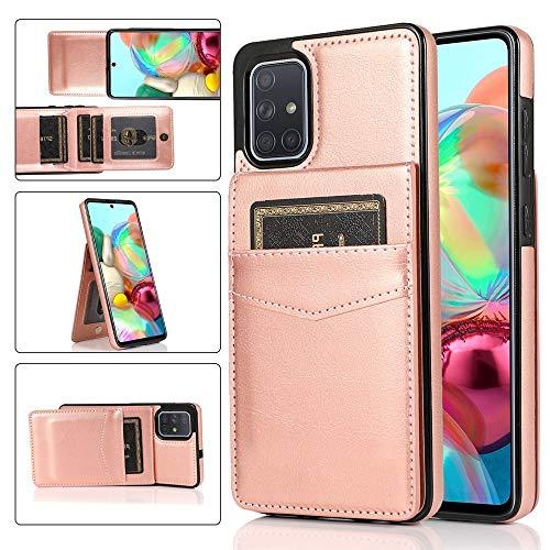 Happy-L Funda compatible con Samsung Galaxy A71 4G, cierre magnético con función atril, funda de piel sintética premium con ranura para tarjeta (color rosa