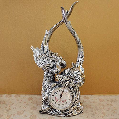 Despertadores Decoraciones Sencillas para el hogar Reloj de pájaro pequeño Resina Práctica Artesanía Reloj de Mesa Nueva casa Boda Adornos creativos