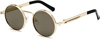 LUKEEXIN Retro Steampunk Style Spring Decoration Round Sunglasses UV400 Protection Travelling Outdoor Driving (Color : Golden Frame Local Gold)
