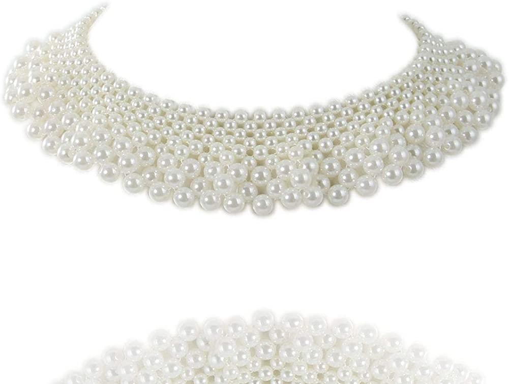 Kalse White Faux Pearl Collar Choker Necklace Handmade DIY Craft Supply 16 19 inch