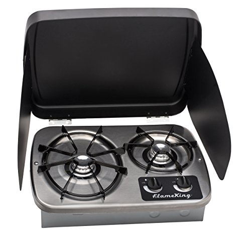 Flame King YSNHT600 2 Burner Built-In RV Cooktop Stove  Propane  7200 and 5200 BTU Burners  Cover Included