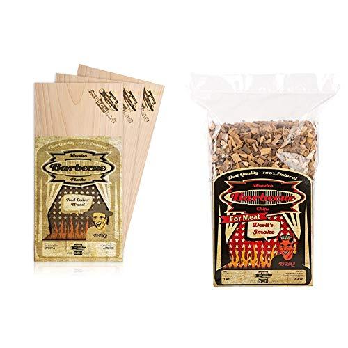 Axtschlag Grillbretter Zeder, 3 Wood Planks zum schonenden Garen mit aromatischer Rauchnote und Servieren, 300x150x11 mm & Räucherchips Devil's Smoke, 1000 Gramm sortenreine Räucherspäne
