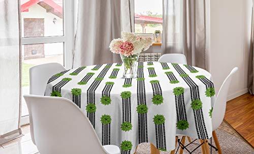 ABAKUHAUS Abstrakt Runde Tischdecke, Reifen-Bahnen und Büsche, Kreis Tischdecke Abdeckung für Esszimmer Küche Dekoration, 150 cm, Weiß Schwarz und Lime Green