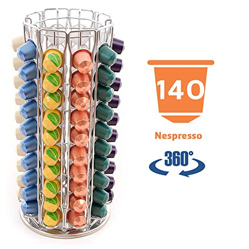 Peak Coffee N140 - Nespresso Soportes para 140 (100) cápsulas de café, color plateado