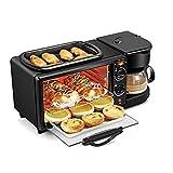 Haofy Máquina de Desayuno 3 en 1, Mini Plancha de Horno eléctrico Multifuncional, sartén de Tortilla para freidora de Pan, máquina de café, 1050 W(EU Plug)