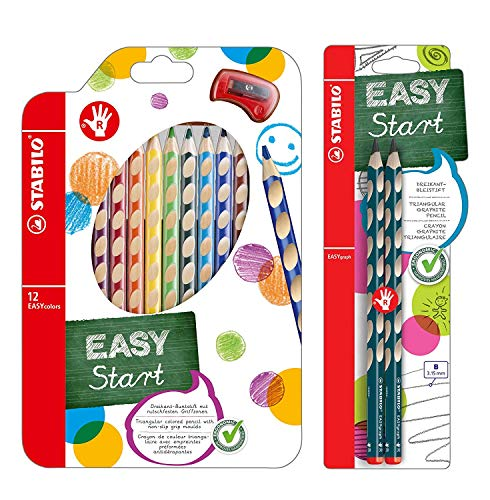 Ergonomischer Buntstift für Rechtshänder - STABILO EASYcolors - 12er Pack mit Spitzer & Dreikant-Bleistift für Rechtshänder - in petrol - 2er Pack - Härtegrad B