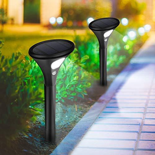 Molbory Solarlampen für Außen, 2 Stück Solarleuchte Garten LED Gartenleuchte 2 Modi mit Bewegungsmelder Wasserdicht Gartenlicht Solarlicht Lichter Außenleuchte für Garten Auffahrt Pfad Hof
