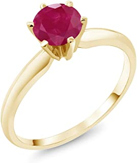 Gem Stone King 14K Yellow Gold Red Ruby Women's Engagement Solitaire Ring (1.00 Cttw, Available 5,6,7,8,9)