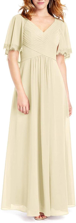 JAEDEN Bridesmaid Dress Long Prom Dress with Sleeve Formal Evening Gowns V Neck Evening Dresses Chiffon Bridesmaid Dresses