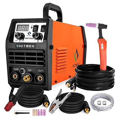 HITBOX TIG Welder 200 Amp, HF 110V/220V Dual Voltage TIG/ARC Welding Machine, 2 in 1 Inverter IGBT...
