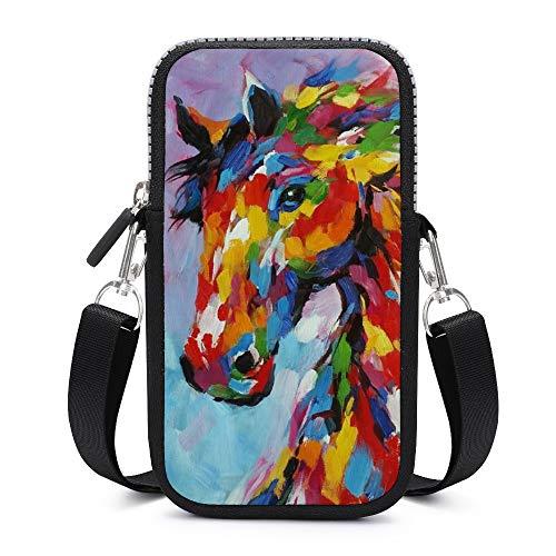 Bolso bandolera para teléfono celular, con correa de hombro extraíble, para atar a caballo, con tintes anticaídas, funda para teléfono móvil, cintura cartera, bolsas de correr para niñas