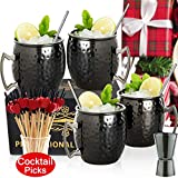 Moscow Mule Mugs- Set of 4 Black Plated Stainless Steel Mug 18oz, for Chilled Drinks… (black)