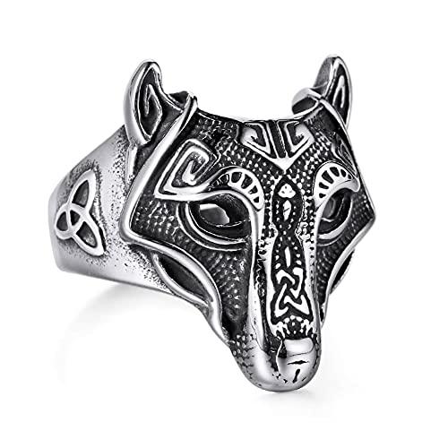 DFWY Mens Viking Fenrir Wolf Head Anillo de Acero Inoxidable, Medieval Vintage...