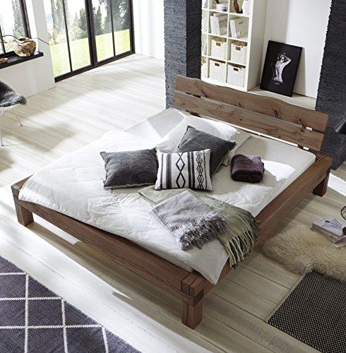 SAM Balkenbett 180x200 cm Elias, Fichten-Holz geölt, massives Holzbett, Kopfteil mit Baumkanten-Optik