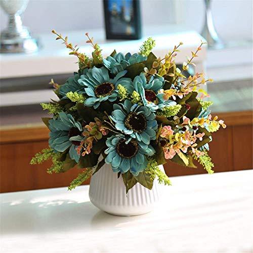 AXAA Piante da Fiore Artificiali - Girasoli Artificiali con Vaso in Ceramica per la Decorazione della Festa della casa dell'ufficio da tavola, C.