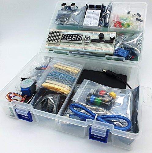 Mega 2560 Starter Kit Ultra (100% Compatible con Arduino IDE) con Porta baterías, WiFi, Bluetooth, Sensores, Modules, Kit de Resistores y Componentes: 220 Elementos!