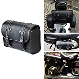 Goldfire Waterproof Motorbike Handlebar Bag PU Leather Saddlebag Motorcycle Tool Bag Front Rear Storage Tool Pouch with 2 Straps Fits for Motorcycle Dirt Bikes (BLK-V2)