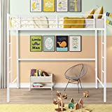 Metal Pipe Twin Size Loft Bed with Stairs,Heavy Duty Twin Loft Bed with Shelves, Modern Loft Bed Frame 2 Ladder and Guard Rails for Kids Teens Adult (White)