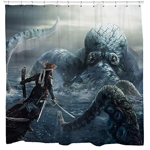ArthuereBack Piraten douchegordijn Octopus badkamer scheepsbreuk kunst kraken kunst piraten thema decor schip badkamer gordijn steampunk currile cadeau-ideeën
