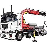 FYHCY Technic Crane Truck Building Blocks, 2.4G 4CH RC Camión grúa neumática motorizada, Kits de construcción compatibles con Lego Technic, 8238 + Pcs