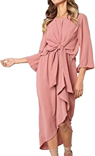 Clearance Women Tops LuluZanm Fashion Club Midi Dress Irregular Hem Bow tie Evening Party Daily Solid Dress