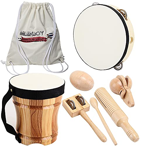 ML.ENJOY Wooden Musical Instruments Toys for Toddlers and Kids, Bongo Drums for Kids and Percussion Sets, Eco-Friendly Toddler Musical Instruments with Storage Bag