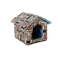 ペットハウス ドッグハウス、ペット用別荘ストレイキャットリター防水キャットリター犬小屋屋外ストレイキャットレインハウス折りたたみ洗える (Color : C, Size : 40x38x35cm)