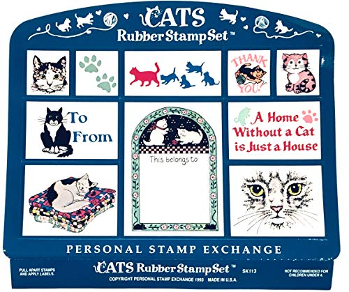 Personal Stamp Exchange Cats 10 Piece Rubber Stamp Set PSX SK113