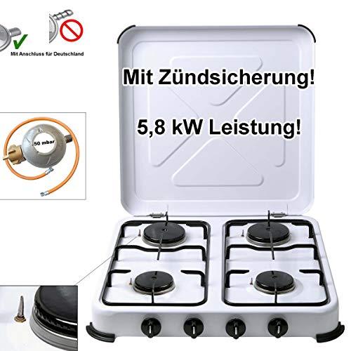 CAGO Camping-Gaskocher 4-flammig mit Zündsicherung Gasschlauch Gasregler