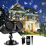 Christmas Projector Outdoor, B-right 2-in-1 Rotating Snowflake Projector with Remote Control Waterproof LED Christmas Snowfall Projector, Upgrade Landscape Projector Light for Xmas Party Holiday Decor