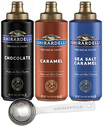 Ghirardelli - Sea Salt Caramel, Chocolate and Caramel Flavored Sauce (Set of 3) with Ghirardelli Stamped Barista Spoon