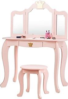 COSTWAY Tocador con Taburete y Espejo para Niña de Madera Mesa de Maquillaje con Cajón 80x42x106 centímetros (Rosa)