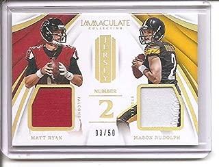 Matt Ryan/Mason Rudolph 2018 Panini Immaculate Collection Jersey (2) 3-Color Dual Jersey Memorabilia Football Card #3/50 THIRD ONE!!!