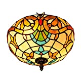 Luz de techo de araña decorativa Tiffany 30cm Tiffany lámpara de techo Galss dormitorio Restaurante Café Luz Luz barroca y botes Lámparas de techo