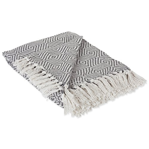 DII 100% Cotton Geometric Daimond Throw for Indoor/Outdoor Use Camping BBQs Beaches Everyday Blanket, 50 x 60, Mineral Gray