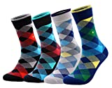 McWay Comfy Bamboo Socks Seamless Socks for Dress Casual Fancy (Small Diamond, 4)