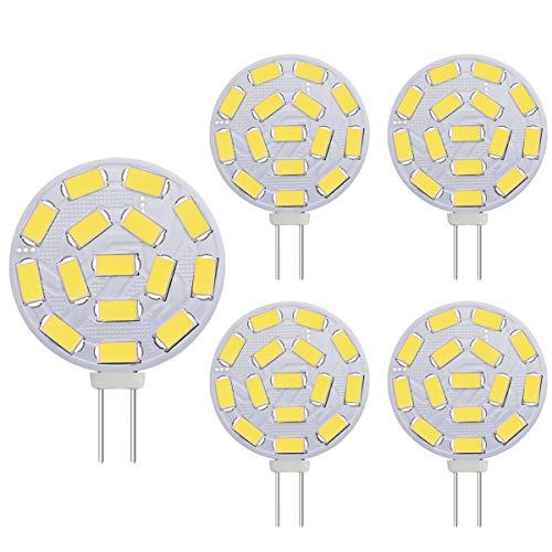 Bombillas LED G4 3W, equivalentes a lámparas halógenas de 20-30W, Base G4 AC / DC 12V, 300 LM, luz empotrada, luz de carril, blanco (6000K, 5 uds.)