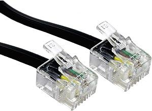 Cable ADSL 10m Alida Systems; Alta calidad, pines chapados en oro, para internet de banda ancha de alta velocidad; Conexión del enrutador o módem al microfiltro o al enchufe del teléfono RJ11, Negro