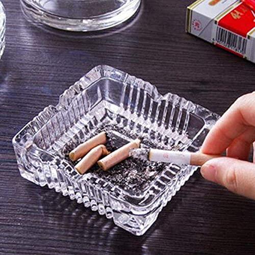 JIANGCJ Durable Cenicero Creatividad Transparente Hogar Cocina Cristal de Cristal Ceniza Ceniza Cuadrado Cigarro de la habitación Escritorio Ceniza Bandeja KTV Plaza