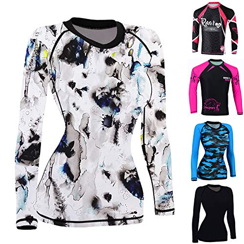 ROAR MMA Grappling Rash Guard Women BJJ Cross Training No Gi UFC Fight Gear Long Sleeve Shirt (Multi, Large)