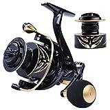 ZHXH Ultra Leggero 1000-4000 Rotazione della Bobina di Pesca Massima Resistenza 12Kg Pesca Bobina 5,2: 1 Ad Alta velocità Aspo Rotante in Metallo Pesca Mulinello da Pesca,Nero,3000 Series